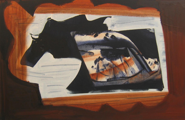 'Train Ride'  John King 2007, Acrylic on canvas 26x40in. 67x102cm. #1197