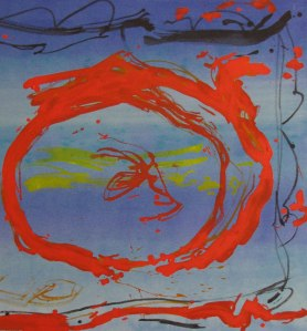 Blue Sea Red John King 2013, Acrylic on canvas 27x25in. #1306