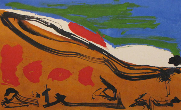 'Red Dynasty'  John King 2013, Acrylic on canvas 25x40in. #1313