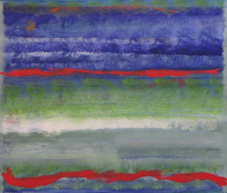 'Blue Sage' John King 2013, acrylic on canvas 34x40in. #1340