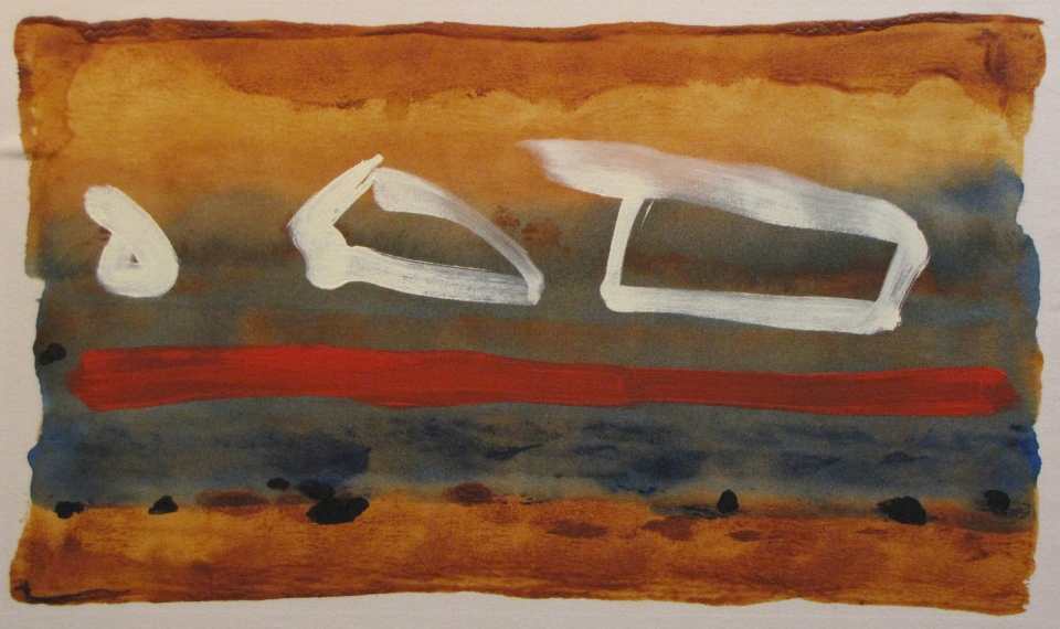 'Resting Red' John King 2013, acrylic on canvas 24x41in. #1341