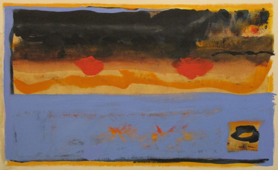 'Beach Fires' John King 2013, acrylic on canvas 27x43in. #1346