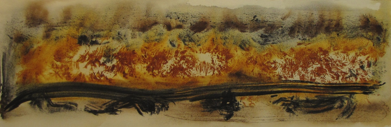 'Trail North' John King 2014, acrylic on canvas 24x71in. #1367