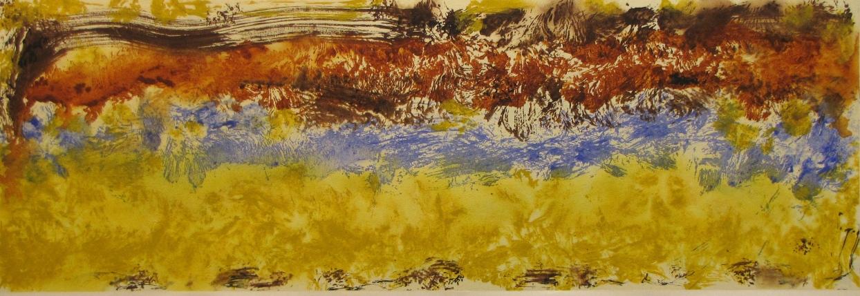 'Morning Walk' John King 2014, acrylic on canvas 24x71in. #1369